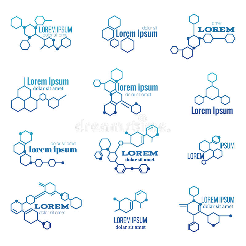 Molekuły struktury logo lub biologia modela znaka wektoru set royalty ilustracja