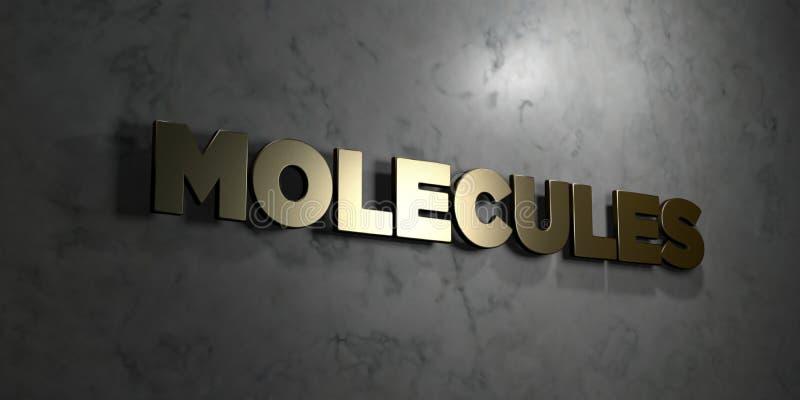 Molekuły - Złocisty tekst na czarnym tle - 3D odpłacający się królewskość bezpłatny akcyjny obrazek ilustracja wektor