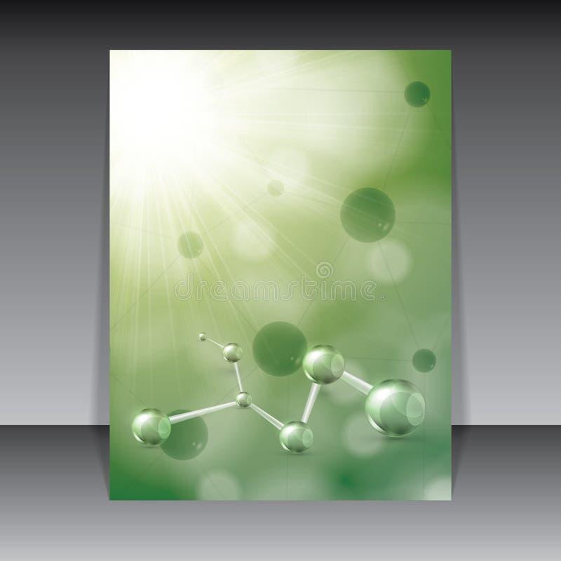 Molekuły zielony tło ilustracja wektor