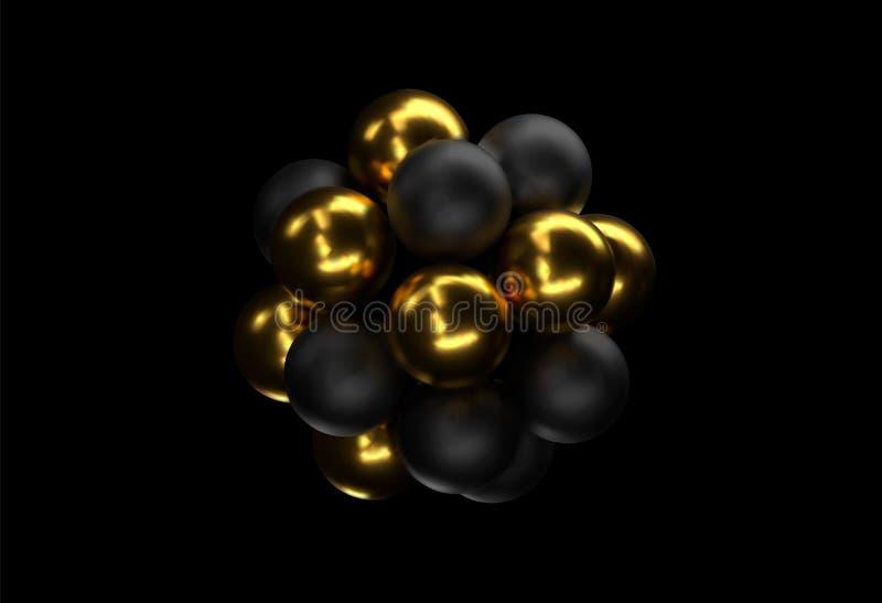 moleku?a poj?cia ilustracja 3 d abstrakcyjnych kuli Z?oci i czarni b?ble Pi?ki textured z b?yskotliwymi paillettes ilustracji