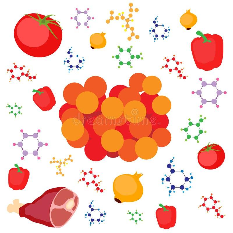 Molekulare Gastronomiekonzeptillustration Molekularer Kaviar vom Fleisch, Gemüse lizenzfreie abbildung