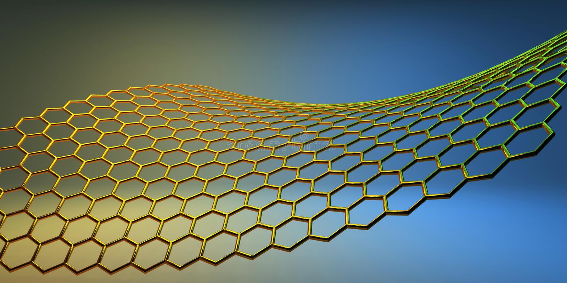 molekulare Struktur 3D auf gelb-blauem Hintergrund lizenzfreie abbildung