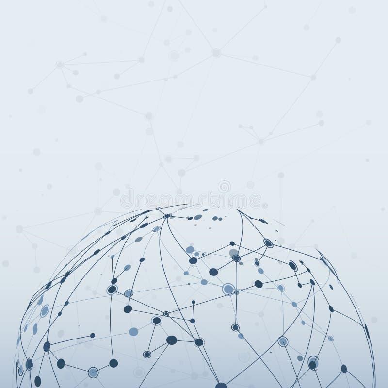 Molekulare Verbindung der Chemie Internet-Technologiekommunikation Plexusmaschenstruktur Hintergrund der abstrakten Wissenschaft  stock abbildung