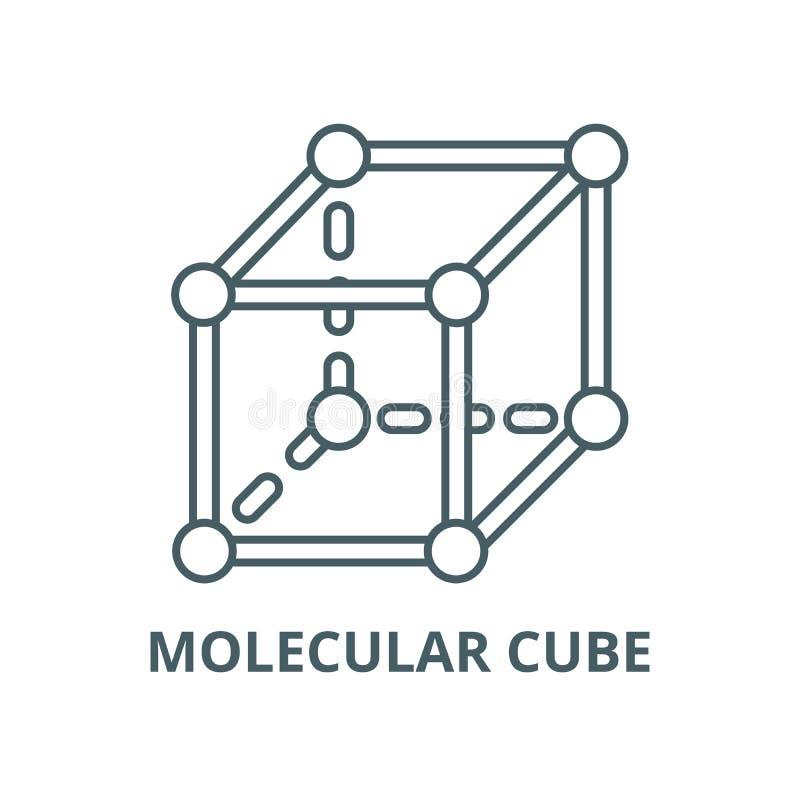 Molekulare Würfelvektorlinie Ikone, lineares Konzept, Entwurfszeichen, Symbol stock abbildung