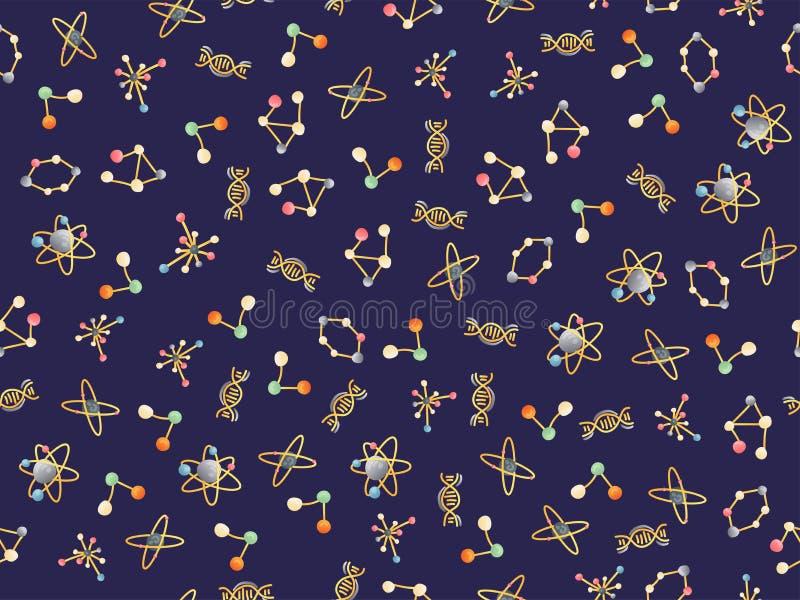 Molekulares nahtloses Muster der netten Karikatur DNA-Molekül, Atome und Atomstruktur-, Proton- und Elektronwissenschaftselemente vektor abbildung
