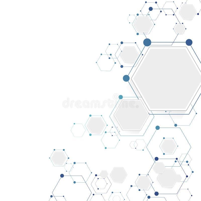 Molekylär anslutningsstruktur vektor illustrationer