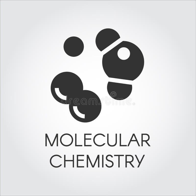 Molekylär chemisty symbol i plan design Vektorillustration för vetenskapligt, bildande och annat projekt svart etikett stock illustrationer