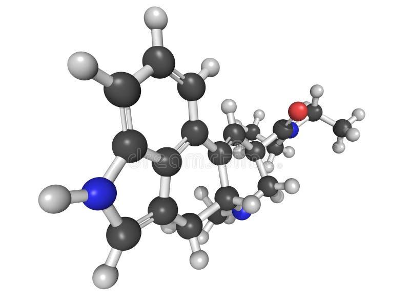 Molekylär modell av diethylamiden för lysergic syra (LSD) royaltyfri illustrationer