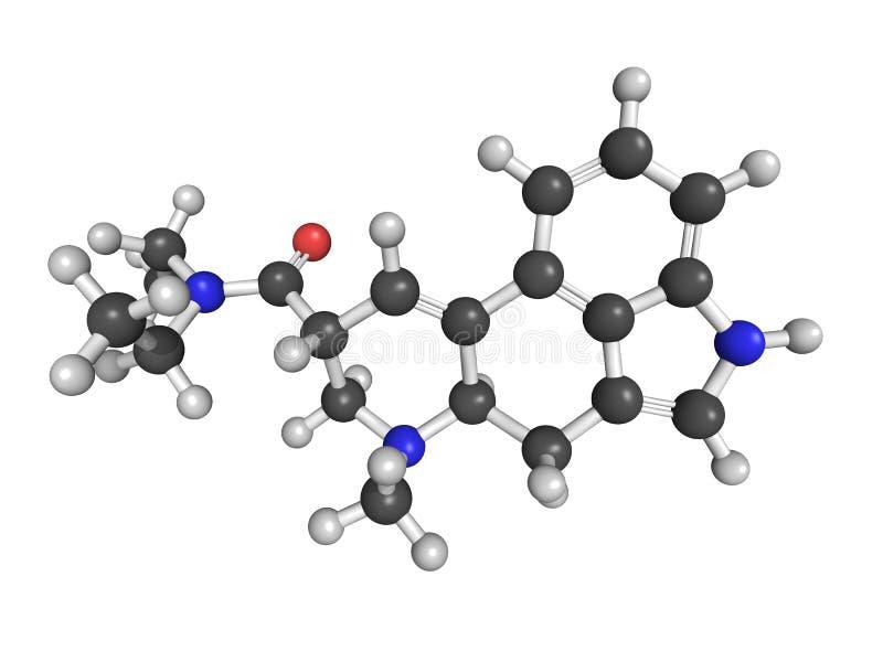 Molekylär modell av diethylamiden för lysergic syra (LSD) vektor illustrationer