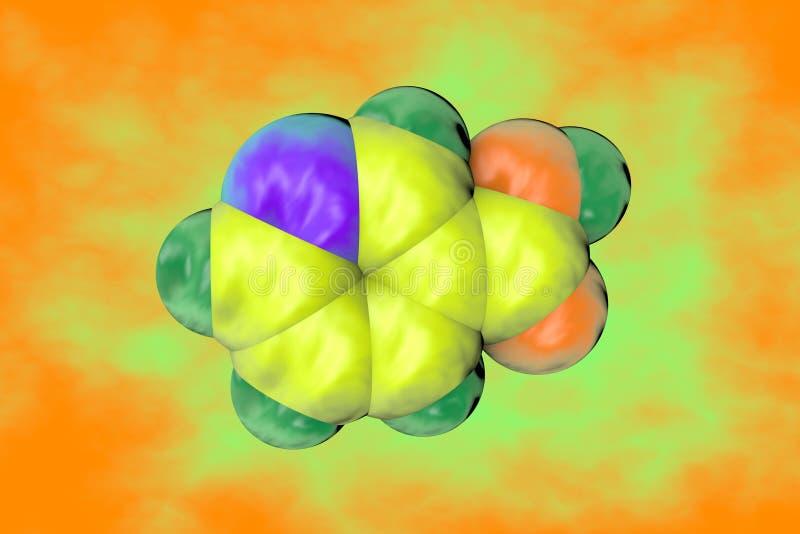 Molekylär modell av niacin, vitamin B3 sund livstid för begrepp dietary supplements vetenskaplig bakgrund illustration 3d stock illustrationer