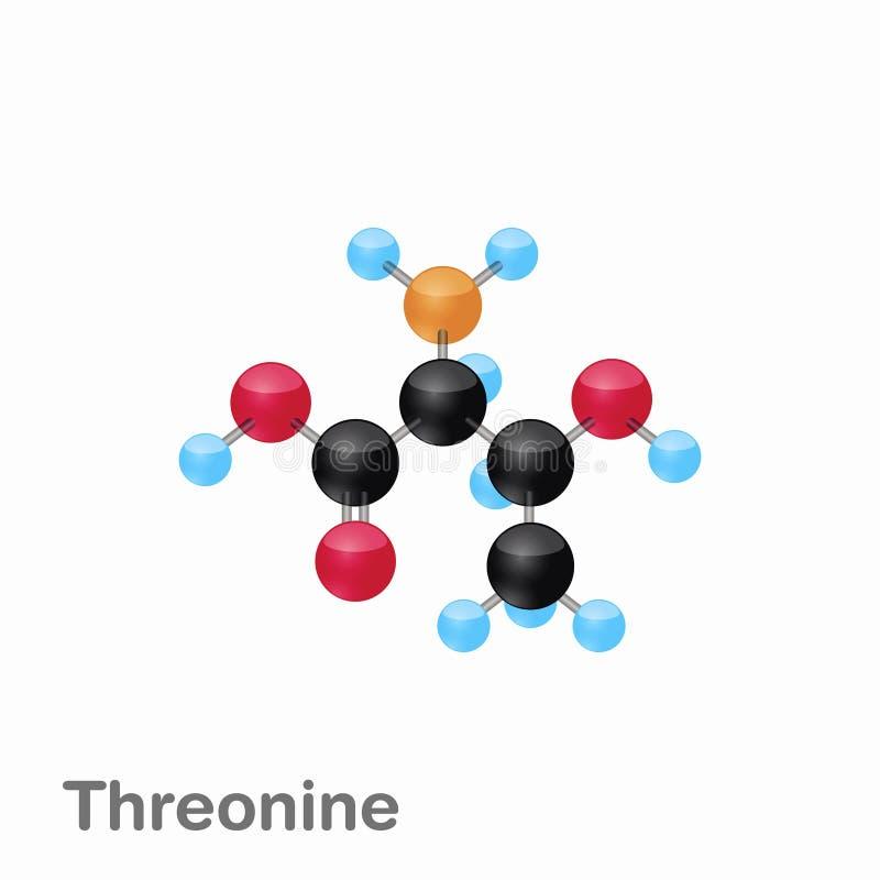 Molekylär omposition och struktur av Threonine, Thr som, är bästa för böcker och utbildning stock illustrationer