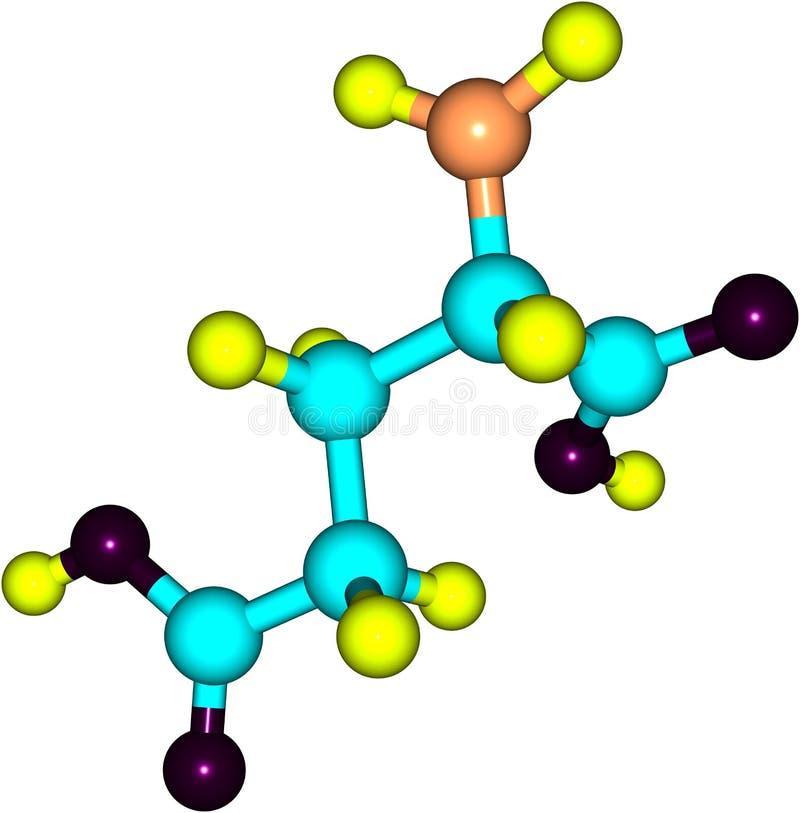Molekylär struktur av Glutamic syra på vit bakgrund royaltyfri illustrationer