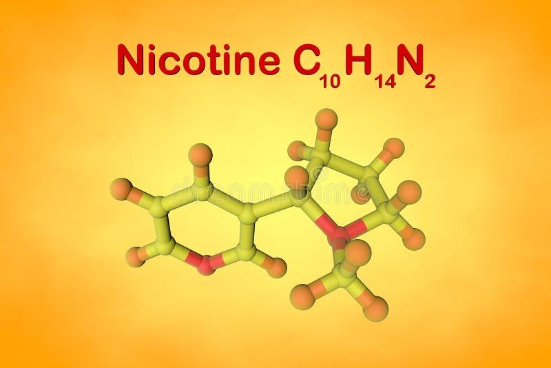 Molekylär struktur av nikotin, en växtalkaloidgåva i tobak Atomer föreställs som sfärer med att kodifiera för färg royaltyfri illustrationer