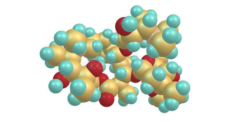 Molekylär struktur för Azithromycin som isoleras på vit stock illustrationer