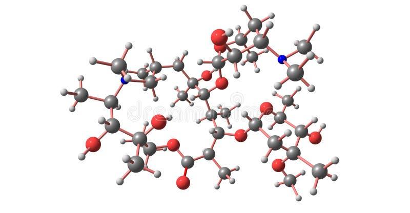 Molekylär struktur för Azithromycin som isoleras på vit royaltyfri illustrationer