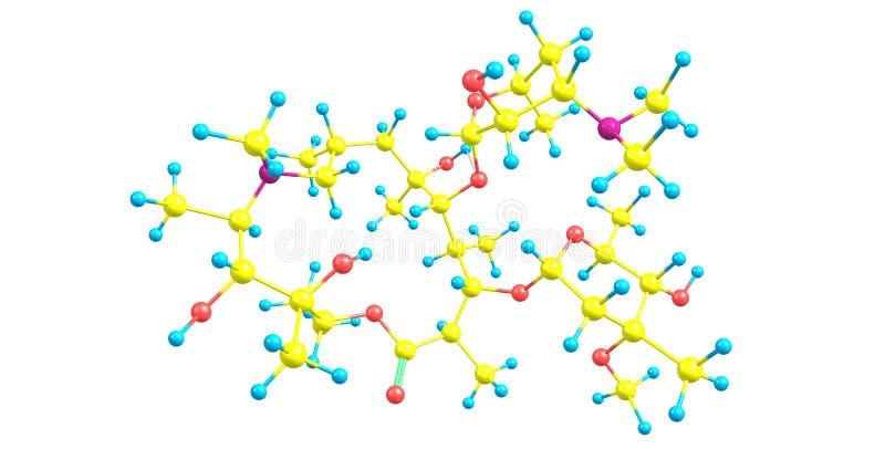 Molekylär struktur för Azithromycin som isoleras på vit vektor illustrationer