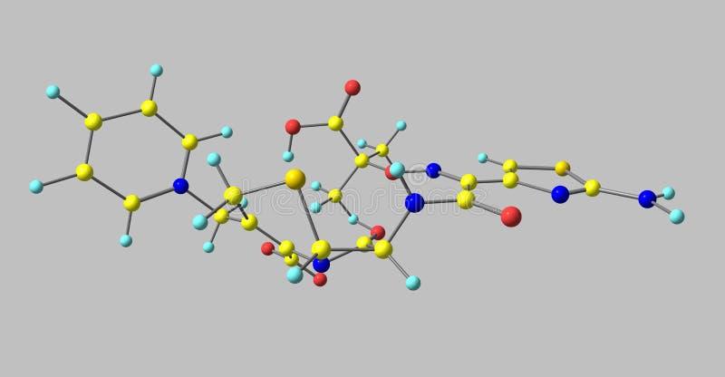 Molekylär struktur för Ceftazidime som isoleras på grå färger vektor illustrationer