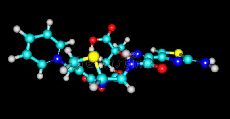 Molekylär struktur för Ceftazidime som isoleras på svart royaltyfri illustrationer