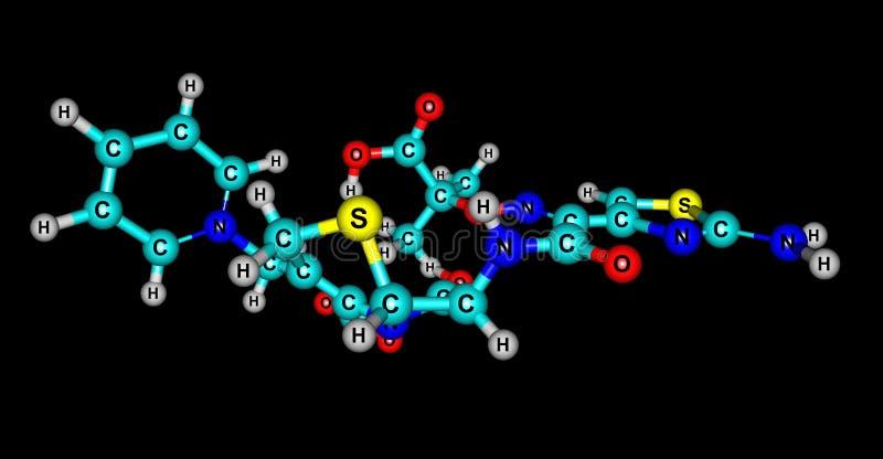 Molekylär struktur för Ceftazidime som isoleras på svart stock illustrationer