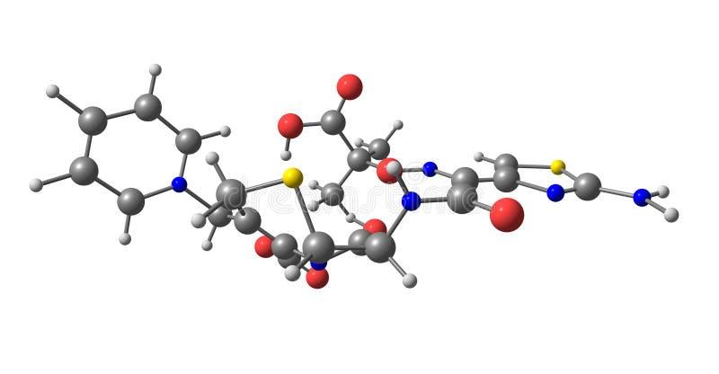 Molekylär struktur för Ceftazidime som isoleras på vit stock illustrationer