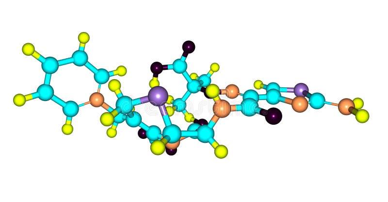 Molekylär struktur för Ceftazidime som isoleras på vit royaltyfri illustrationer