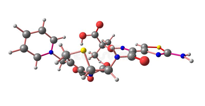Molekylär struktur för Ceftazidime som isoleras på vit vektor illustrationer