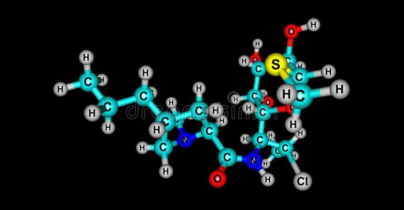 Molekylär struktur för Clindamycin som isoleras på svart stock illustrationer