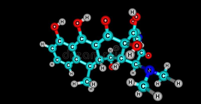 Molekylär struktur för Doxycycline som isoleras på svart royaltyfri illustrationer
