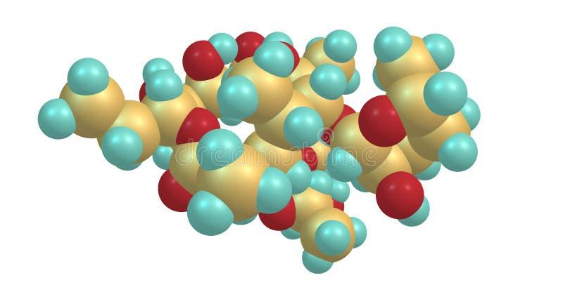 Molekylär struktur för Erythromycin som isoleras på vit stock illustrationer