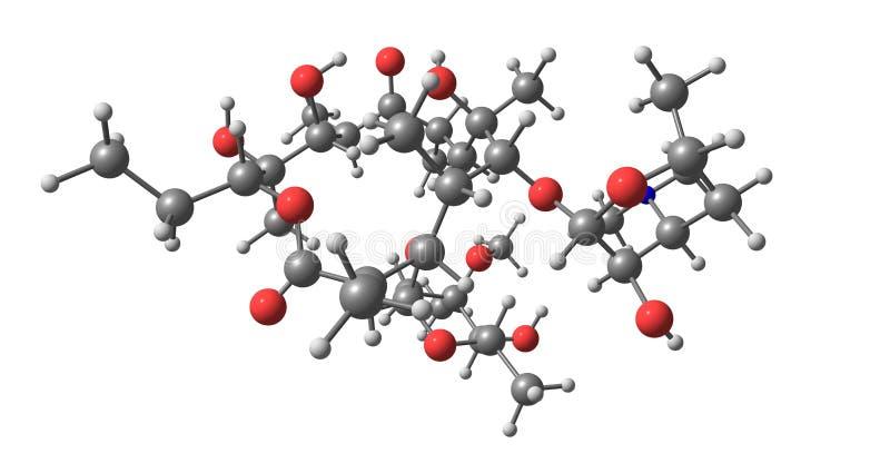 Molekylär struktur för Erythromycin som isoleras på vit vektor illustrationer