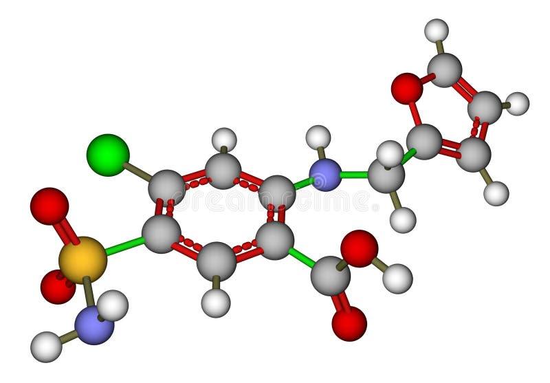 molekylär struktur för furosemide royaltyfri illustrationer