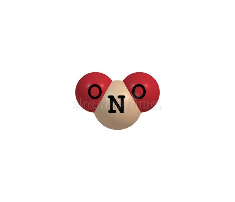 Molekylär struktur för gasformigt grundämnedioxid som isoleras på vit stock illustrationer