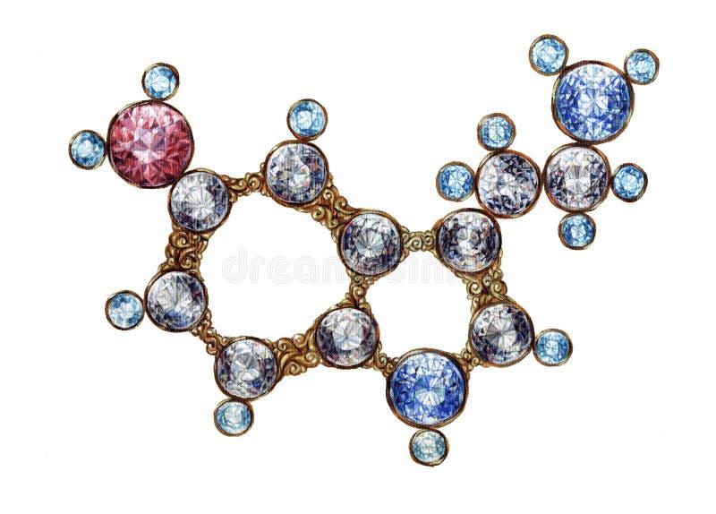 Molekylär struktur för guld- Serotoninmolekyl med glänsande Gemstones Hand dragen olja på kanfaskonst Kemivetenskap vektor illustrationer