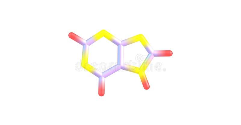 Molekylär struktur för Purine som isoleras på vit vektor illustrationer