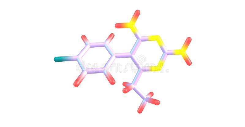 Molekylär struktur för Pyrimethamine som isoleras på vit royaltyfri illustrationer
