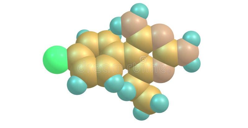 Molekylär struktur för Pyrimethamine som isoleras på vit vektor illustrationer