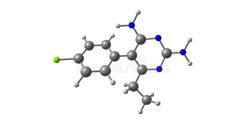 Molekylär struktur för Pyrimethamine som isoleras på vit stock illustrationer