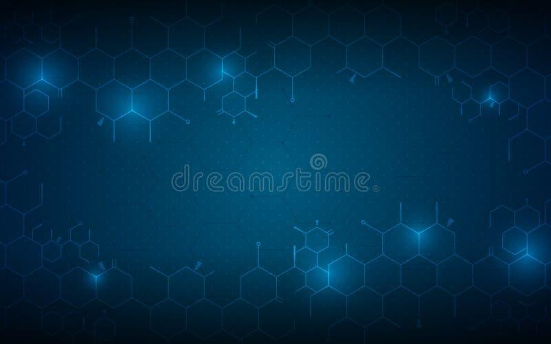 Molekylär vetenskaplig design för abstrakt medicinsk hälsovårdbegreppsbakgrund stock illustrationer
