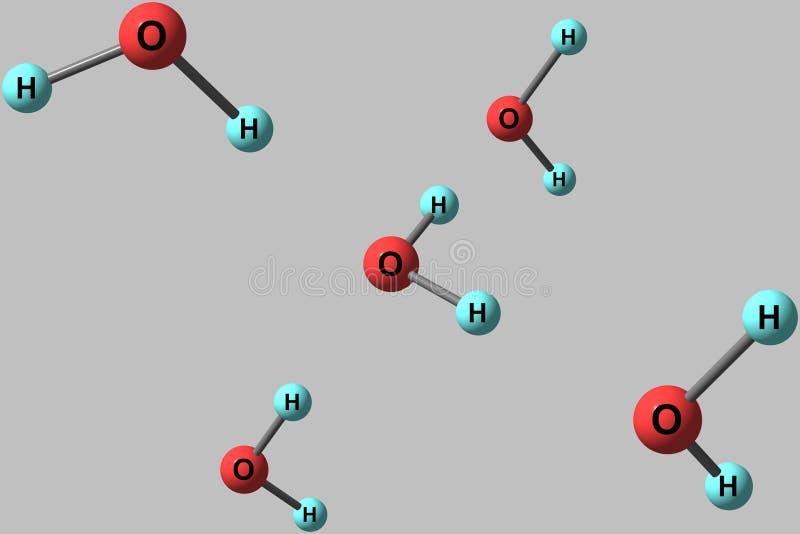 Molekylära strukturer för vatten som isoleras på grå bakgrund stock illustrationer