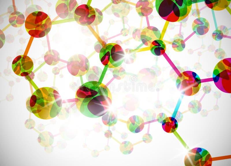 Molekylärt strukturera, abstrakt bakgrund royaltyfri illustrationer