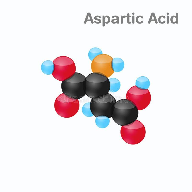 Molekyl av Aspartic syra, egyptisk huggorm, en aminosyra som används i biosynthesisen av proteiner vektor illustrationer