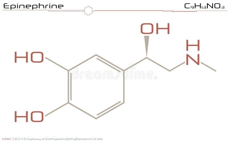 Molekyl av epinephrine vektor illustrationer