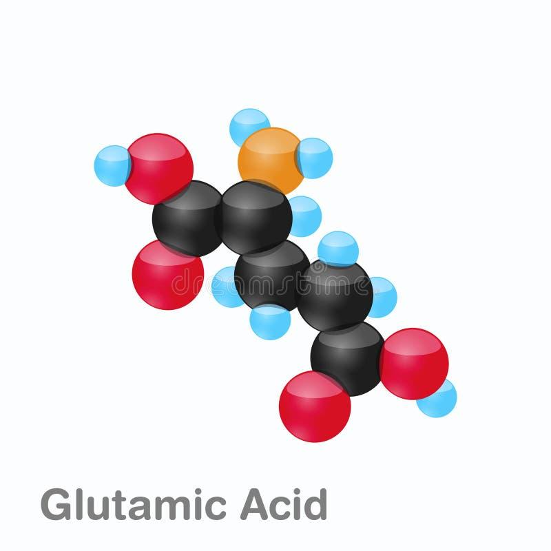Molekyl av Glutamic syra, Glu, en aminosyra som används i biosynthesisen av proteiner royaltyfri illustrationer