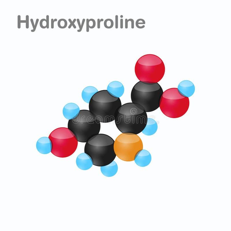 Molekyl av hydroxyprolinen, Hyp, en aminosyra som används i biosynthesisen av proteiner vektor illustrationer