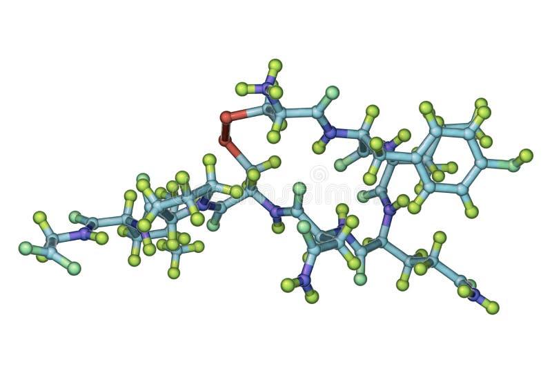 Molekyl av oxytocin, en hormon släppt från neurohypophysisen royaltyfri illustrationer