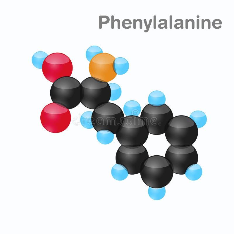 Molekyl av Phenylalanine, Phe, en aminosyra som används i biosynthesisen av proteiner stock illustrationer