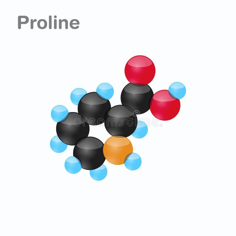 Molekyl av prolinen som är pro-, en aminosyra som används i biosynthesisen av proteiner royaltyfri illustrationer