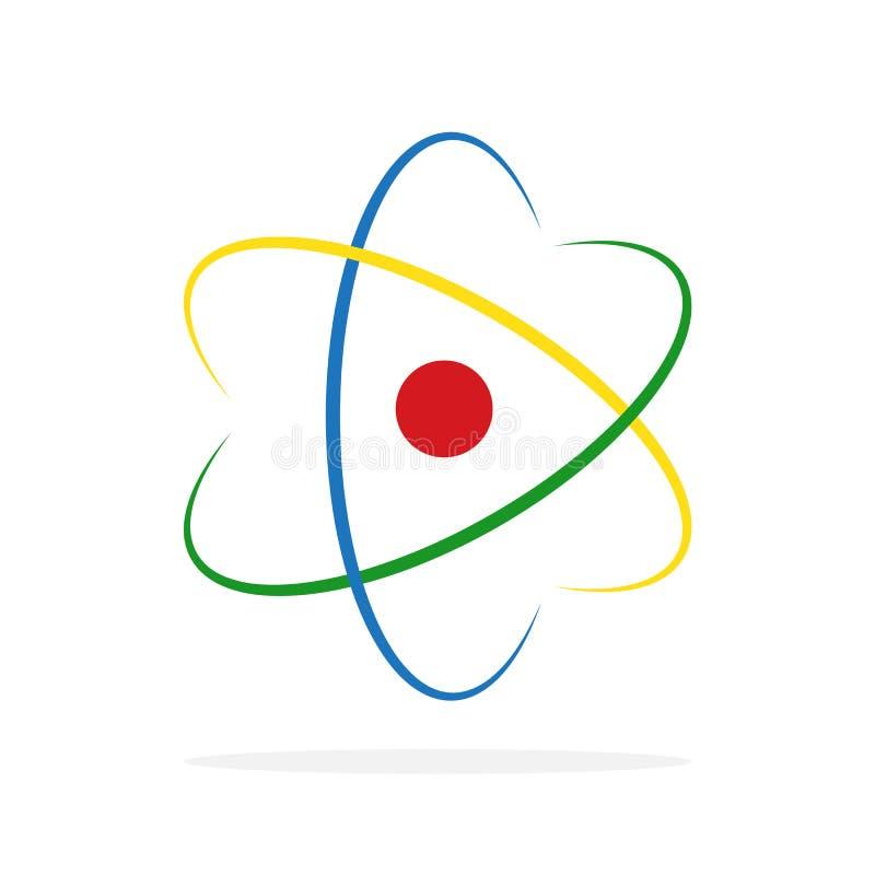 Molekyl- eller atomsymbol också vektor för coreldrawillustration stock illustrationer