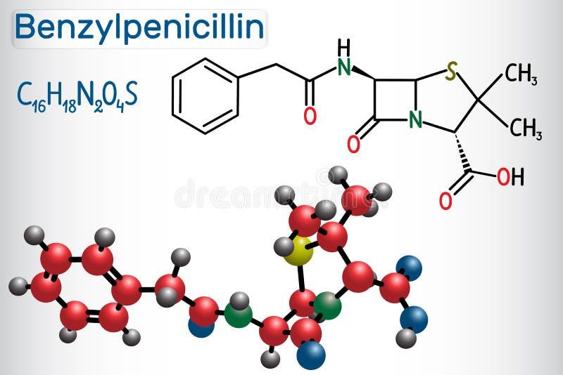Molekyl för drog för BenzylpenicillinpenicillinG Det är denlactam antibiotikummen Strukturell kemisk formel- och molekylmodell vektor illustrationer