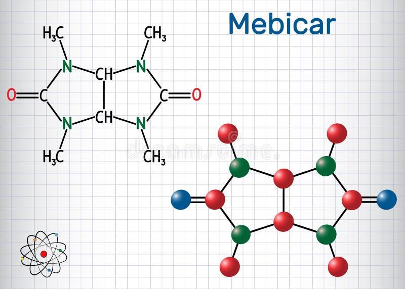 Molekyl för drog för Mebicar mebicarumanxiolytic Ark av papper i en bur Strukturell kemisk formel- och molekylmodell vektor illustrationer